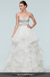 Women's Watters 'Meri' Beaded Strapless Layered Tulle Gown In Stores Only