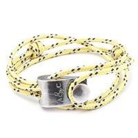 Anchor And Crew Falmouth Rope And Silver Bracelet Yellow Dash