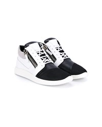 Giuseppe Zanotti Side Zip Leather And Mesh Sneakers Black White Silver Grey