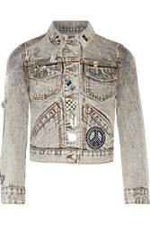 Marc Jacobs Embellished Appliqued Denim Jacket Gray