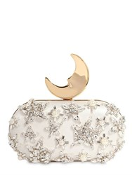 Benedetta Bruzziches Smiling Moon Embellished Silk Clutch