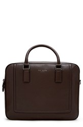 Men's Ted Baker London 'Ragna' Leather Bowler Bag Brown Chocolate