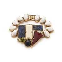 Lulu Frost For J.Crew Geometric Shapes Bracelet Ivory Blue Ruby