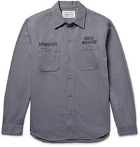 Wacko Maria Embroidered Cotton Twill Overhirt Gray