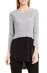 Vince Camuto Women's Two By Mixed Media Crewneck Tunic Grey Heather