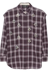By Malene Birger Alfredah Embellished Plaid Cotton Shirt Burgundy