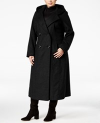 Anne Klein Plus Size Wool Blend Maxi Coat Black