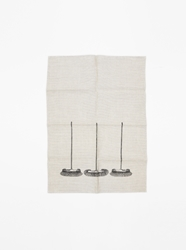 Hand Printed Brooms Tea Towel Present London
