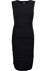 Norma Kamali Teaser Ruched Stretch Jersey Dress Midnight Blue