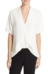 Vince Women's Double V Neck Elbow Sleeve Crepe Top Off White