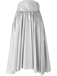Olympia Le Tan Tie Waist Pleated High Rise Skirt Metallic