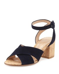 Gianvito Rossi Suede Ankle Wrap Sandal Texas Cork