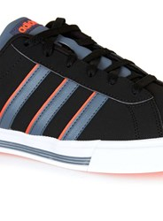 Topman Adidas Black Grey And Neon Orange Stripe Trainers