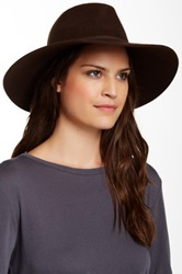 Phenix Wide Brim Wool And Leather Fedora Brown