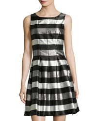 Chetta B Sleeveless Metallic Stripe Dress Blk Silver