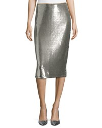 Diane Von Furstenberg Sequined Midi Pencil Skirt Silver Gray