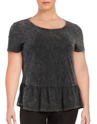Junarose Mona Short Sleeve Jersey Peplum Top Black