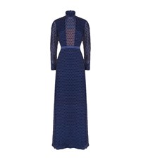 Saloni Polka Dot High Neck Dress Female Navy