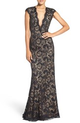 Jovani Women's Embellished Lace Gown Black Nude