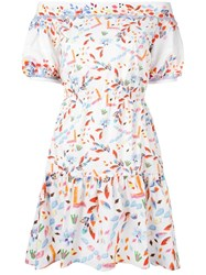 Peter Pilotto Off The Shoulder Tiered Dress White