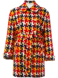 Moschino Vintage Houndstooth Coat Red