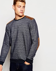New Look Faux Suede Patch Crew Neck Sweatshirt Navy