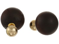 Kenneth Jay Lane 8Mm Polished Gold Front 14Mm Wood Back Post Earrings Brown Earring