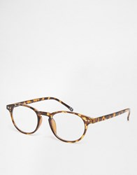 Asos Round Clear Lens Glasses In Tort Tort
