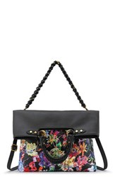 Elliott Lucca 'Iara' 4 In 1 Leather Foldover Tote Black Black Spring Botanica
