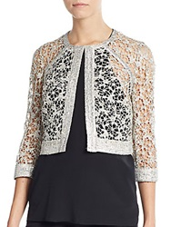 Kay Unger Sequined Lace Jacket Silver