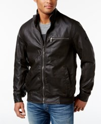 Inc International Concepts Men's Varsity Faux Leather Zip Front Jacket Only At Macy's Brown