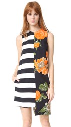 Msgm Stripe And Floral Shift Dress Multi
