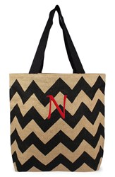 Cathy's Concepts Personalized Chevron Print Jute Tote Grey Black Natural N