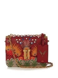 Valentino B Rockstud Leather Shoulder Bag Red Multi