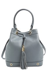 Milly 'Astor' Pebbled Leather Bucket Bag Grey