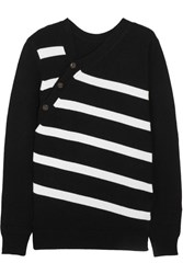 Proenza Schouler Striped Cashmere And Cotton Blend Sweater Black