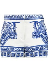 Emilio Pucci Embroidered Cutout Cotton Blend Shorts White