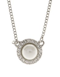 Givenchy Faux Pearl And Crystal Pendant Silver