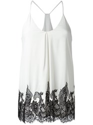 Alice Olivia Contrast Lace Detail Cami Top White