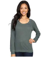 Alternative Apparel Washed Slub Slouchy Pullover Dusty Pine Women's Long Sleeve Pullover Green