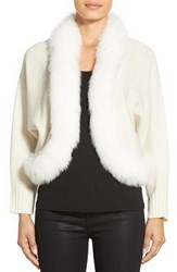Women's Sofia Cashmere Genuine Fox Fur Trim Crop Cashmere Cardigan Ivory