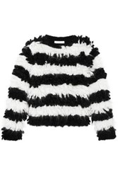 Max Mara Striped Mohair Blend Sweater Black
