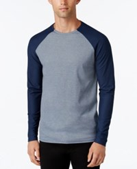 Vince Camuto Men's Mesh Raglan Sleeve T Shirt Blue
