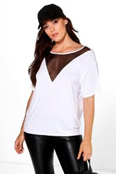Boohoo Connie Mesh Panel Strappy Back Tee White
