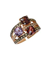 Le Vian 14K Strawberry Gold Rhodolite Pink Tourmaline Amethyst And Diamond Ring