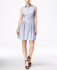 G.H. Bass And Co. Pleated Sleeveless Shirtdress Lapis Combo