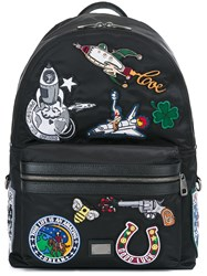 Dolce And Gabbana 'Vulcano' Patch Detail Backpack Black