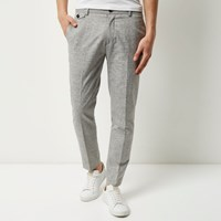 River Island Mens Light Grey Skinny Cropped Trousers