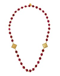 Devon Leigh Long Ruby And Filigree Cushion Station Necklace Women's
