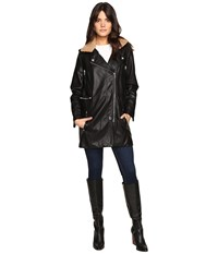 Blank Nyc Black Long Jacket With Beige Collar Detail In Trump Wreck Trump Wreck Women's Coat